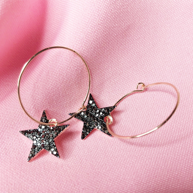 Rose gold Star hoop earrings