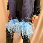 Flossy feather pom pom scarf