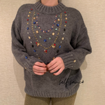 Lizzie Embellished Wool Jumper available in grey & white