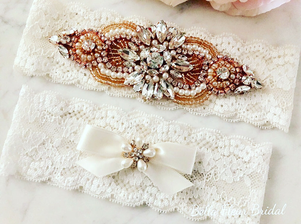 d184f5a28 Rose Gold Wedding Garter-Lace Wedding Garter Set-Bella Fleur Bridal