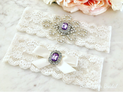 c3c68493f Purple Rhinestone Bridal Garter and Toss Garter Set - Bella Fleur Bridal