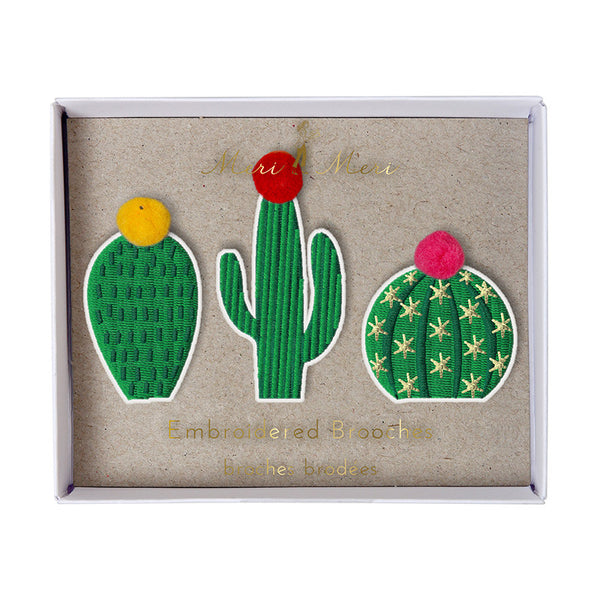 Cacti Embroidered Brooches