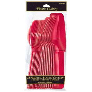 Assorted Plastic Cutlery - Red