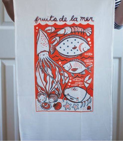 Fruits de la Mer Tea Towel