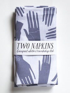 Two Napkins - Grey Hand Print on Linen