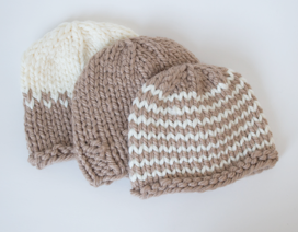 Baby Hat (3-6 months) (Soft Taupe Striped)