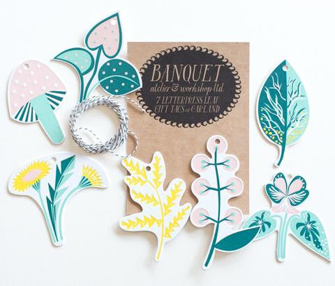 7 Letterpress Leaf Gift Tags or Garland