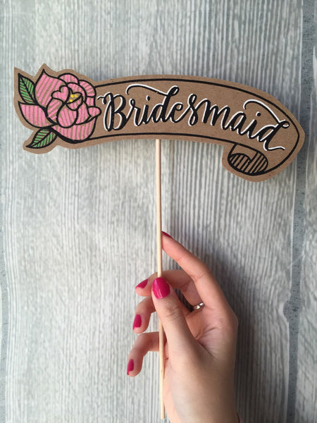 Handmade 'Bridesmaid' - Photoprop/ Card/ Cake Topper
