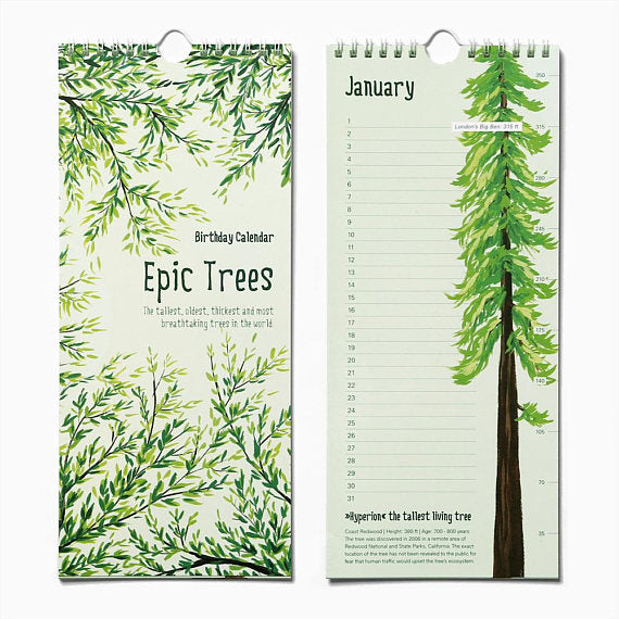 Epic Trees Birthday Calender