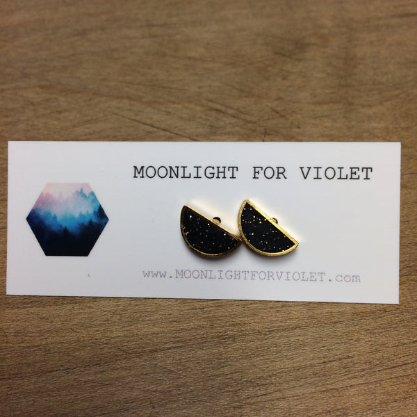 Brass Framed Half Moon Studs