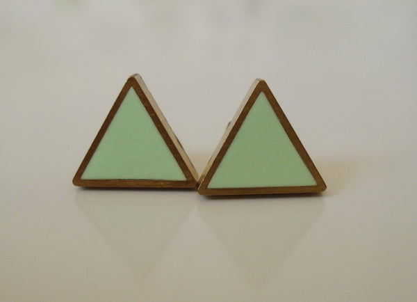 Brass Framed Triangle Studs