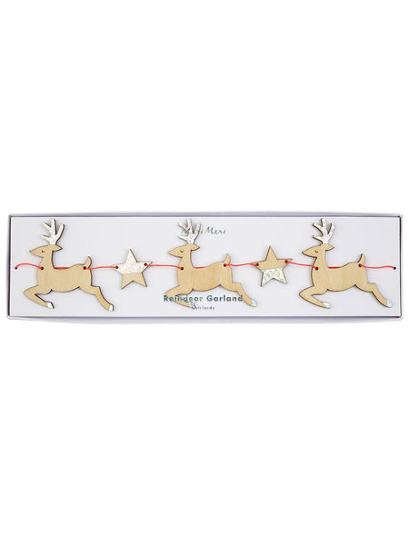 Wooden Reindeer and Star Garland
