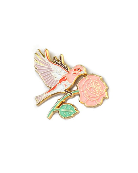 Rose and Finch Pin