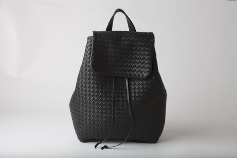 Luisa - woven leather backpack- black - Appassionata Boutique