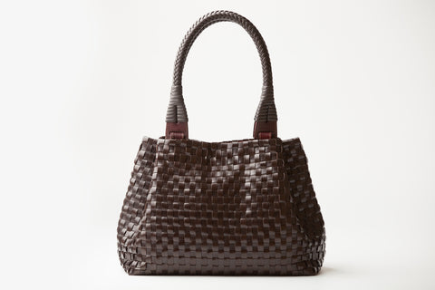 Fiorella – brown woven leather handbag - Appassionata Boutique