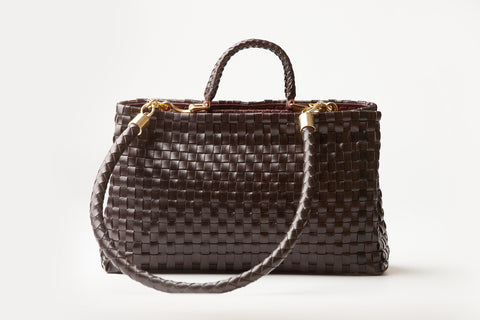 Eva – brown woven leather handbag - Appassionata Boutique