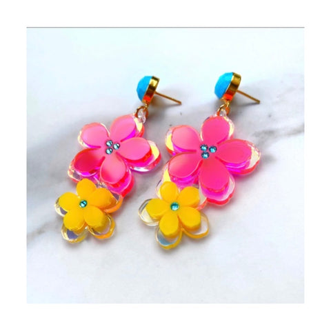 Neon Flower Earrings