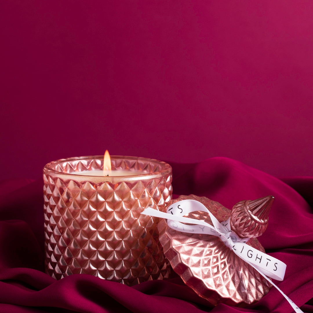 christmas soy candle ruby lights