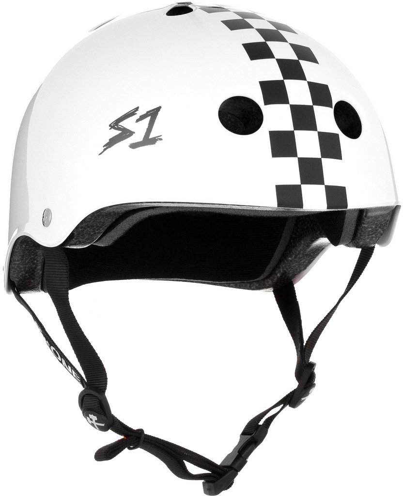 S1 Helmet White with Checkers
