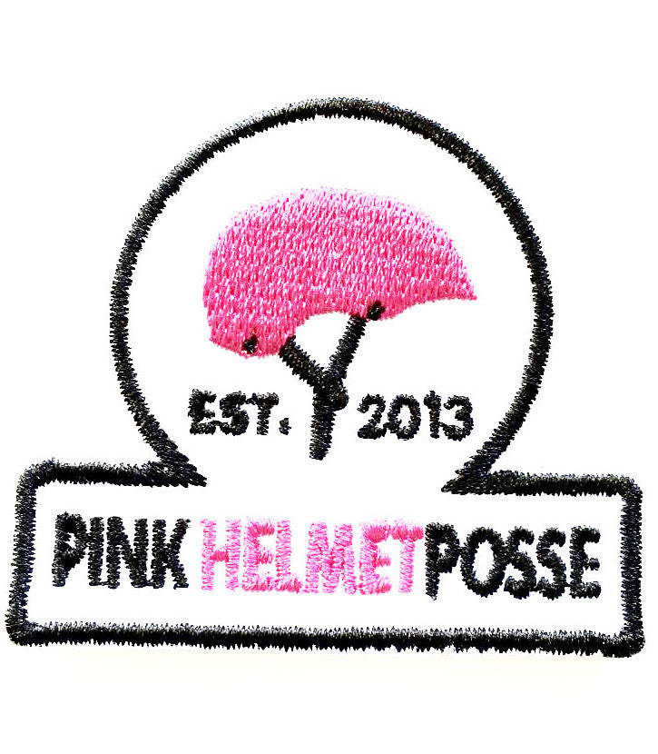 Pink Helmet Posse Patch WHITE