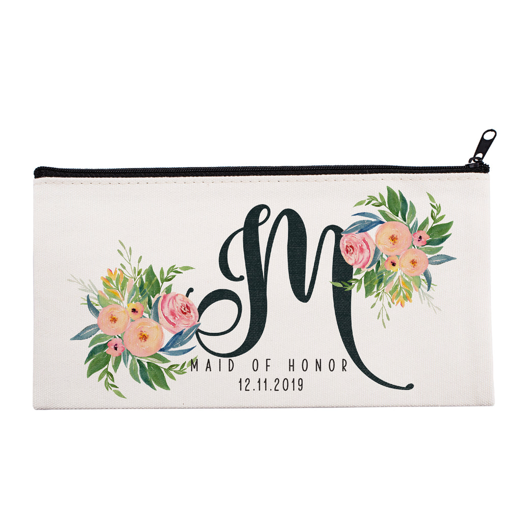 Personalized Makeup Bag Bridesmaid | Wedding Customized Pouch | Bachelorette Party Cosmetic Case |Toiletries Hndy Organizer with Zipper|Events Parties Baby Shower Anniversary Christmas Gift|Desging #1