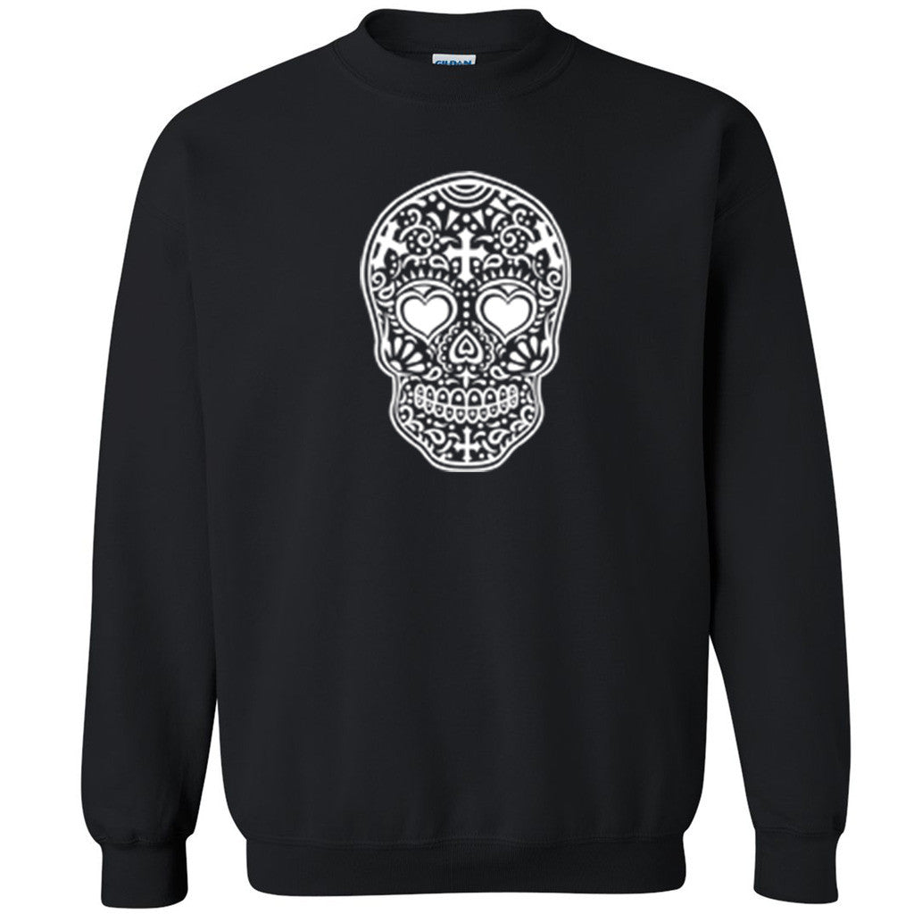 White Sugar Skull Unisex Crewneck Halloween Day Of Dead Muertos Sweatshirt - Zexpa Apparel