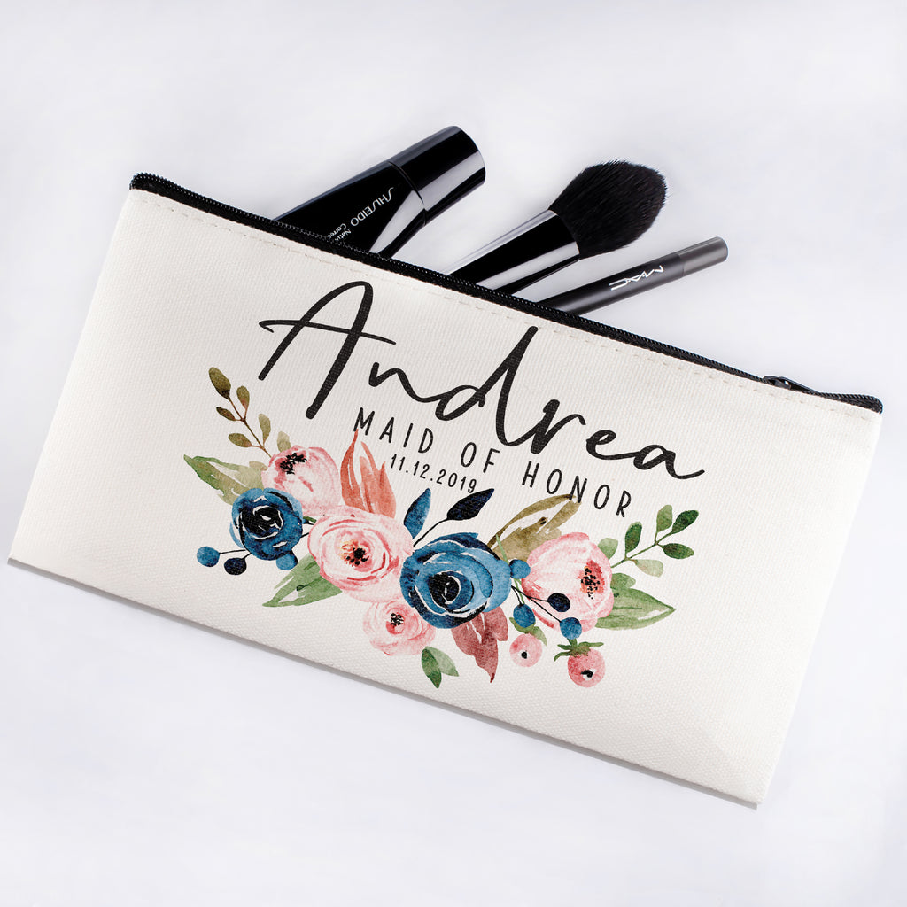 Personalized Makeup Bag Bridesmaid | Wedding Customized Pouch | Bachelorette Party Cosmetic Case |Toiletries Hndy Organizer with Zipper|Events Parties Baby Shower Anniversary Christmas Gift|Desging #12