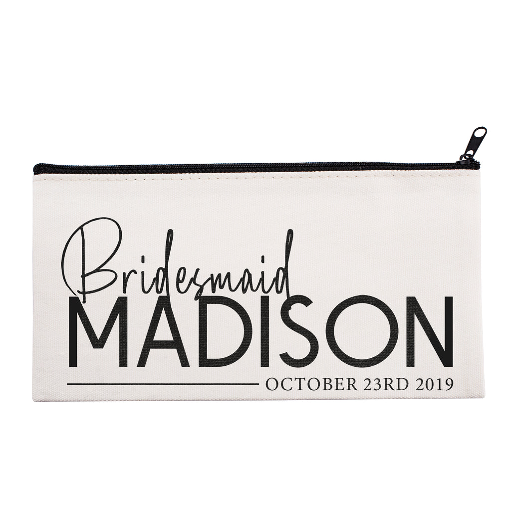 Personalized Makeup Bag Bridesmaid | Wedding Customized Pouch | Bachelorette Party Cosmetic Case |Toiletries Hndy Organizer with Zipper|Events Parties Baby Shower Anniversary Christmas Gift|Desging #18