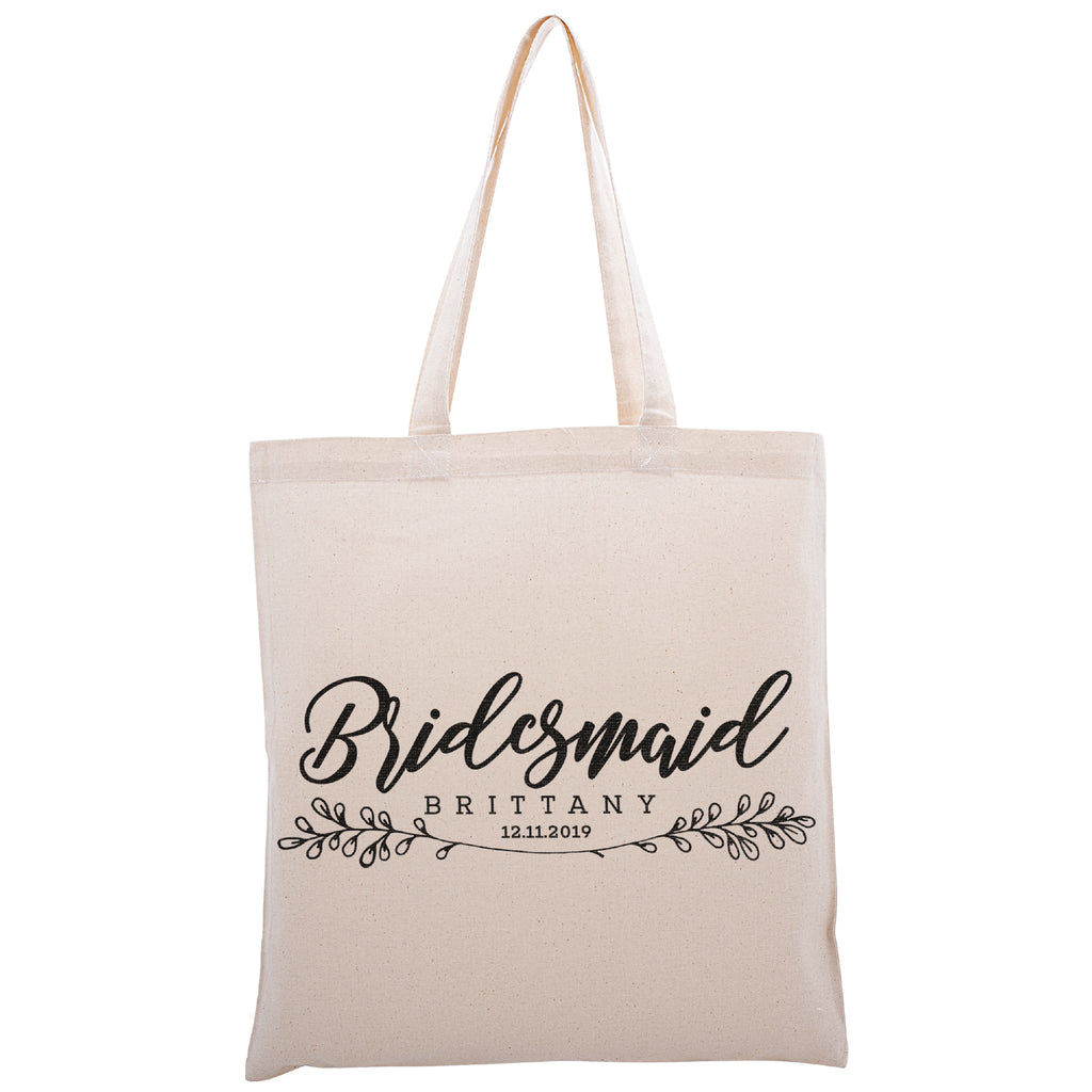 Personalized Tote Bag For Bridesmaids Wedding | Customized Bachelorette Party Bag | Baby Shower and Events Totes |Design #16