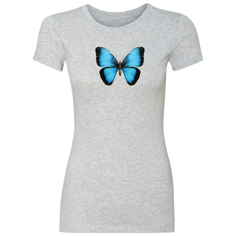 Real 3D Morpho Didius Butterfly Women's T-shirt Animal Cool Cute Tee - Zexpa Apparel - 2