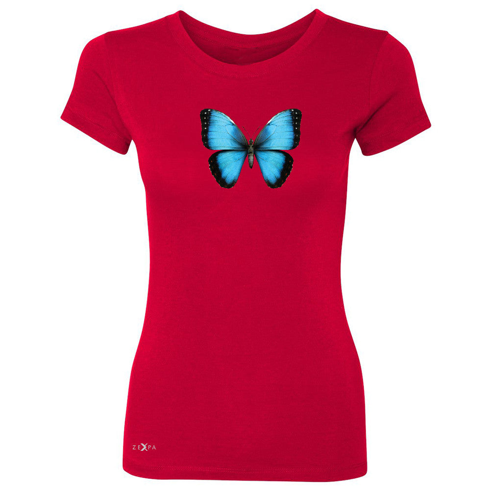 Real 3D Morpho Didius Butterfly Women's T-shirt Animal Cool Cute Tee - Zexpa Apparel - 4