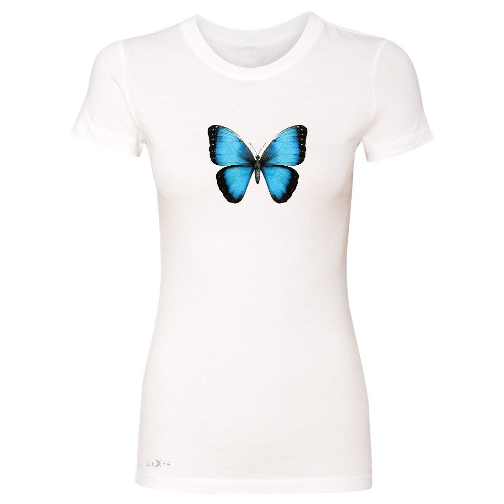 Real 3D Morpho Didius Butterfly Women's T-shirt Animal Cool Cute Tee - Zexpa Apparel - 5