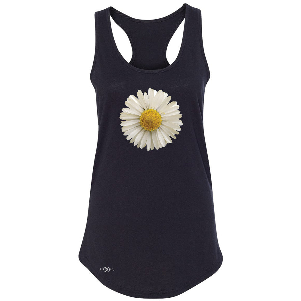 Real 3D Daisy Women's Racerback Flower Cool Cute Embossed Sleeveless - Zexpa Apparel - 1