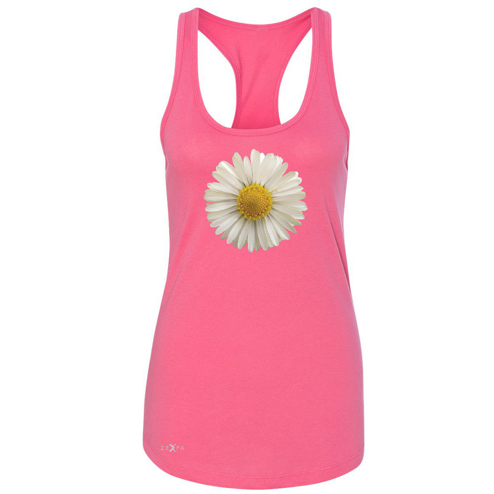 Real 3D Daisy Women's Racerback Flower Cool Cute Embossed Sleeveless - Zexpa Apparel - 2