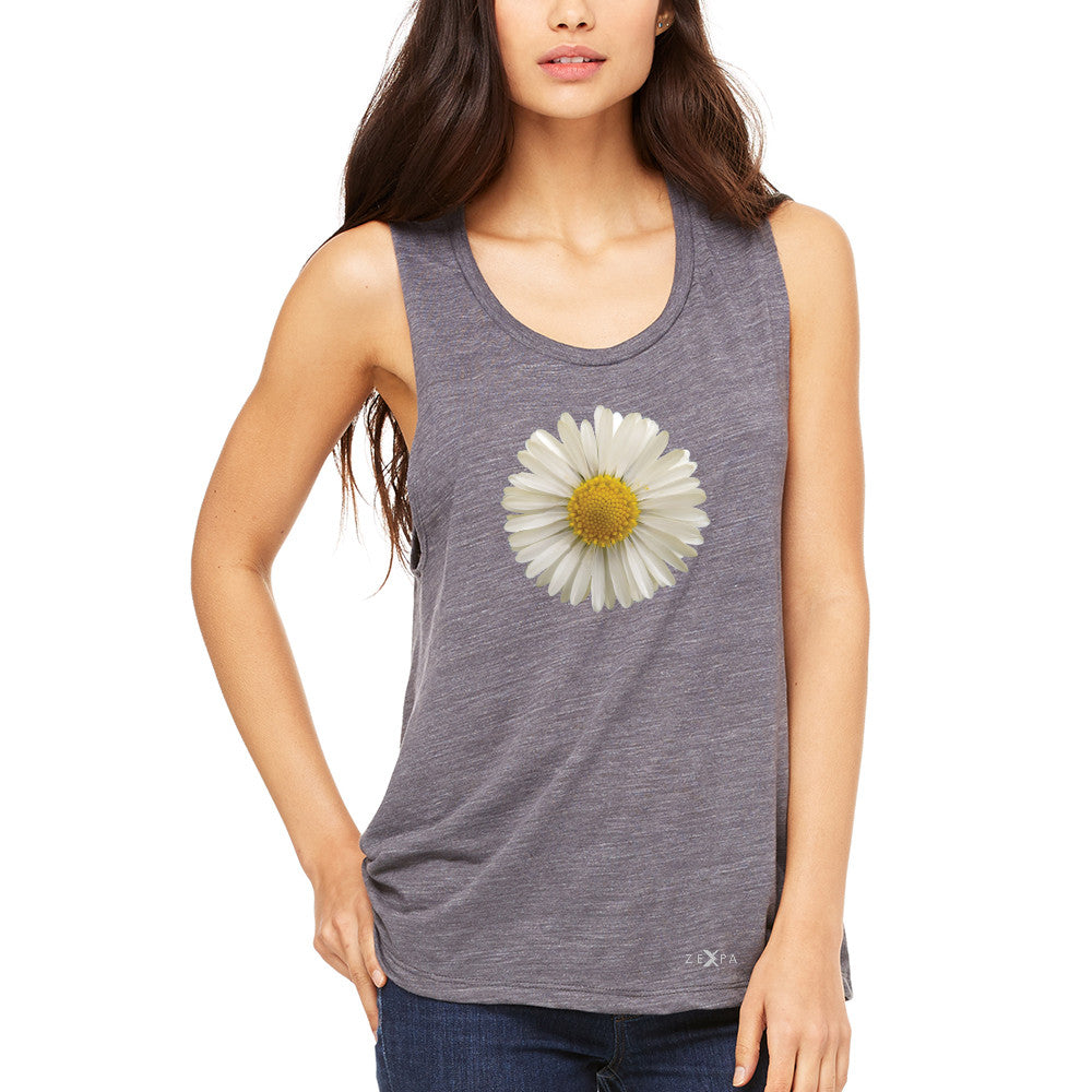 Real 3D Daisy Women's Muscle Tee Flower Cool Cute Embossed Tanks - Zexpa Apparel - 2