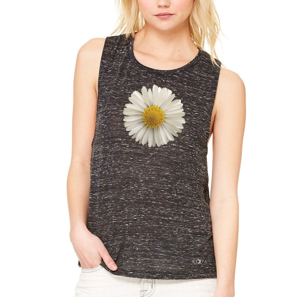 Real 3D Daisy Women's Muscle Tee Flower Cool Cute Embossed Tanks - Zexpa Apparel - 3