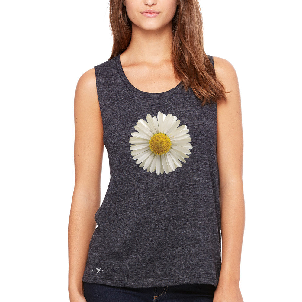 Real 3D Daisy Women's Muscle Tee Flower Cool Cute Embossed Tanks - Zexpa Apparel - 1