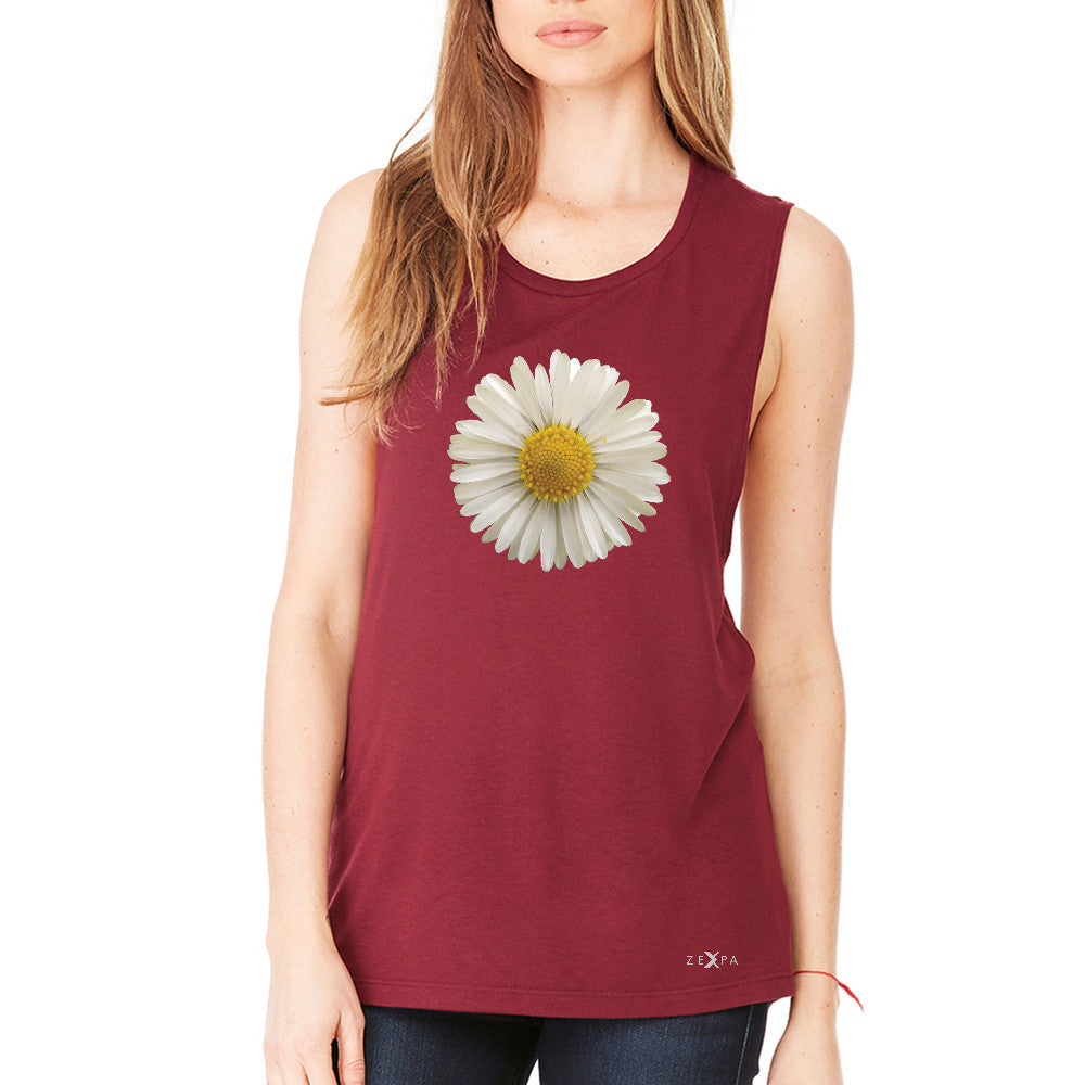 Real 3D Daisy Women's Muscle Tee Flower Cool Cute Embossed Tanks - Zexpa Apparel - 4