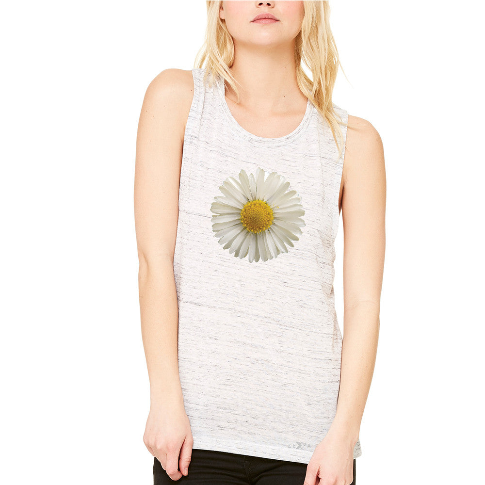 Real 3D Daisy Women's Muscle Tee Flower Cool Cute Embossed Tanks - Zexpa Apparel - 5
