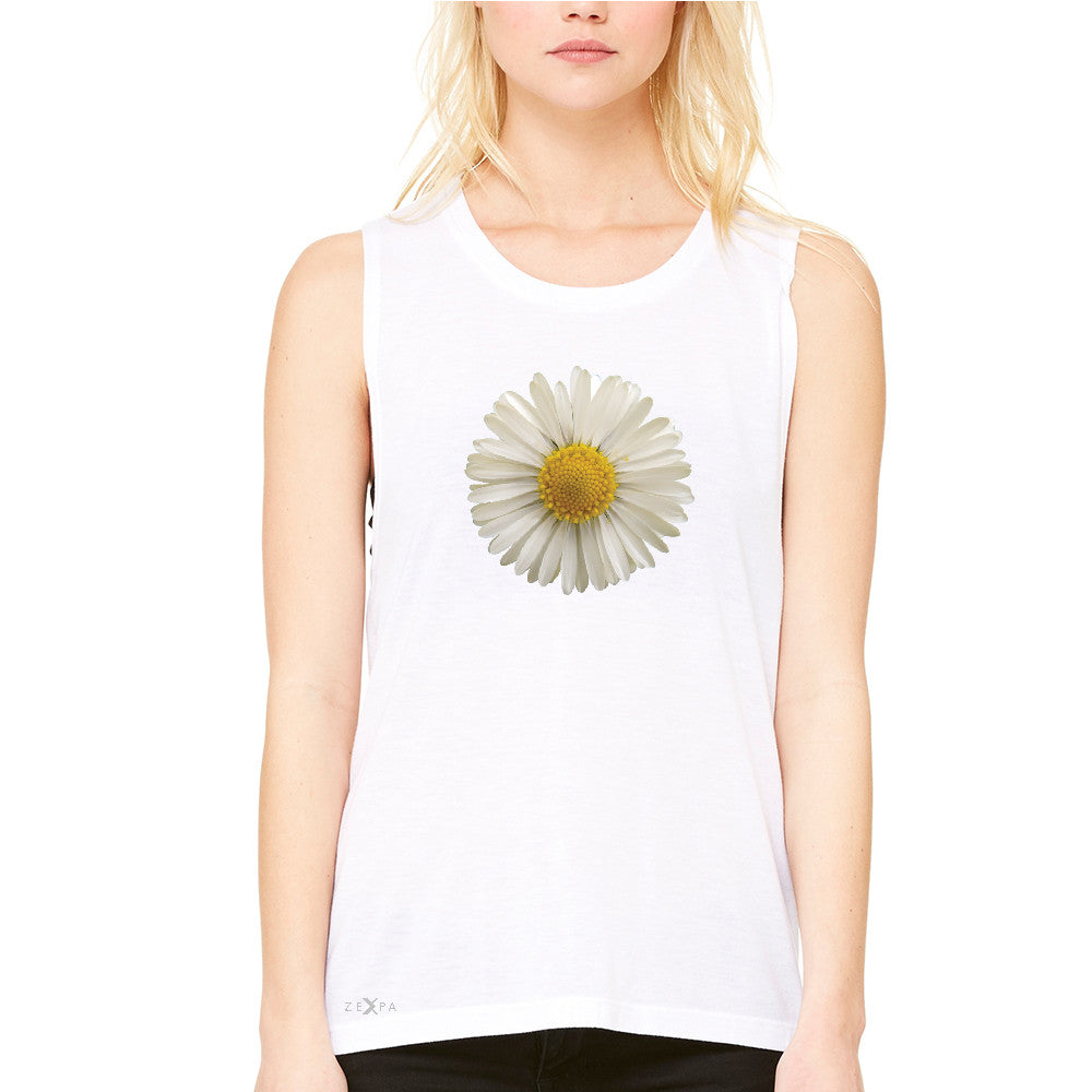 Real 3D Daisy Women's Muscle Tee Flower Cool Cute Embossed Tanks - Zexpa Apparel - 6