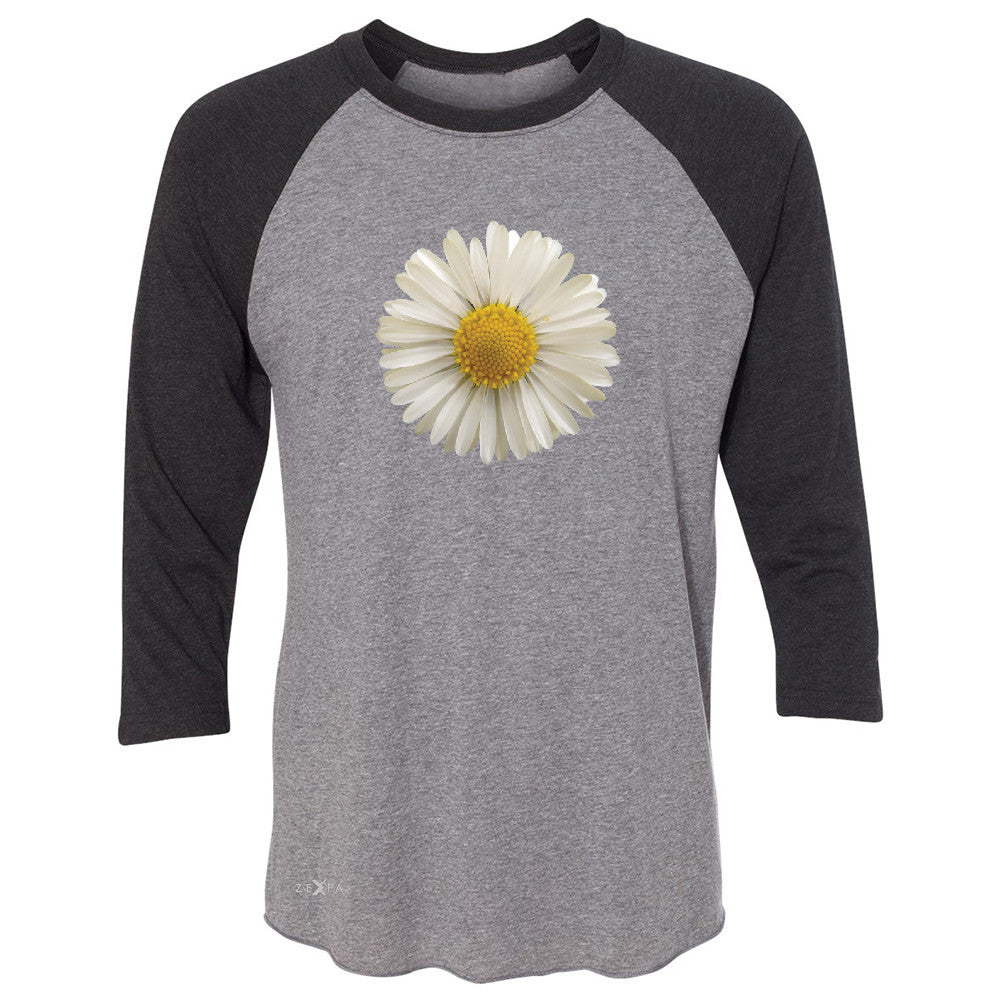 Real 3D Daisy 3/4 Sleevee Raglan Tee Flower Cool Cute Embossed Tee - Zexpa Apparel - 1