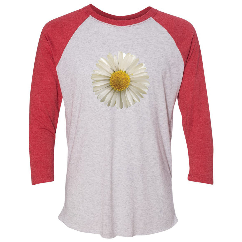 Real 3D Daisy 3/4 Sleevee Raglan Tee Flower Cool Cute Embossed Tee - Zexpa Apparel - 2