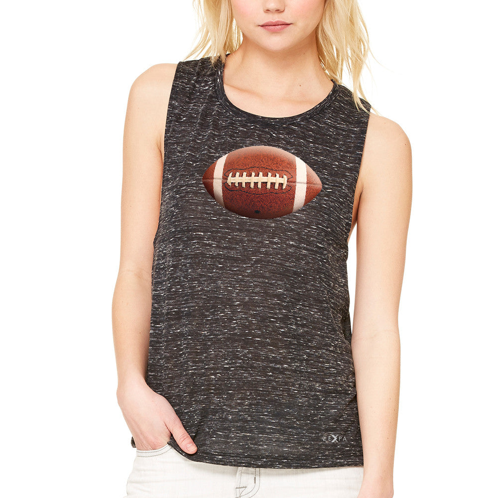 Real 3D Football Ball Women's Muscle Tee Football Cool Embossed Tanks - Zexpa Apparel - 3