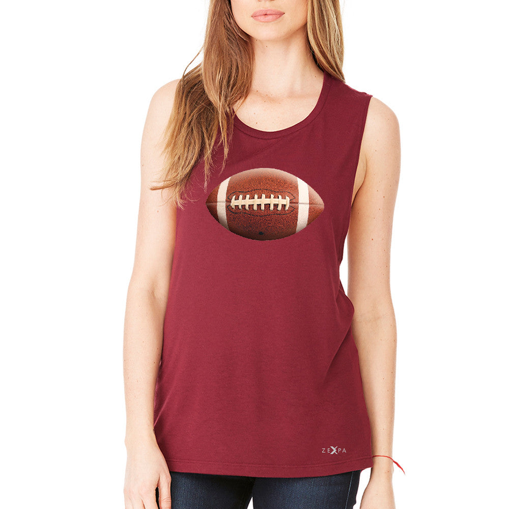 Real 3D Football Ball Women's Muscle Tee Football Cool Embossed Tanks - Zexpa Apparel - 4