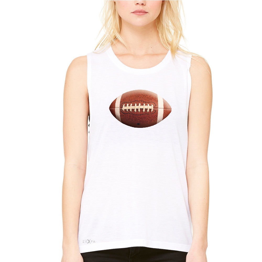 Real 3D Football Ball Women's Muscle Tee Football Cool Embossed Tanks - Zexpa Apparel - 6