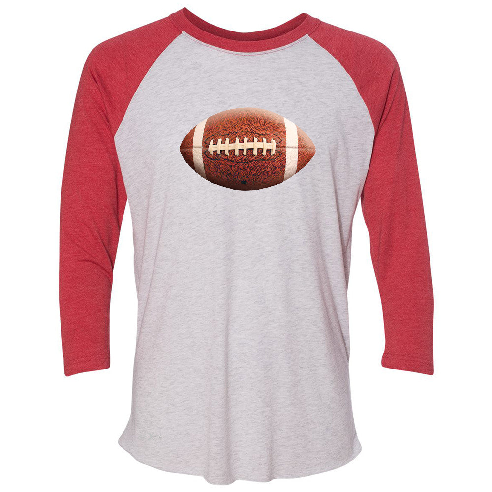 Real 3D Football Ball 3/4 Sleevee Raglan Tee Football Cool Embossed Tee - Zexpa Apparel - 2