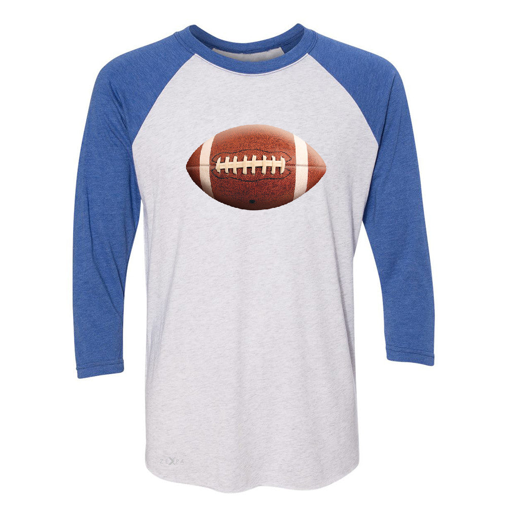 Real 3D Football Ball 3/4 Sleevee Raglan Tee Football Cool Embossed Tee - Zexpa Apparel - 3