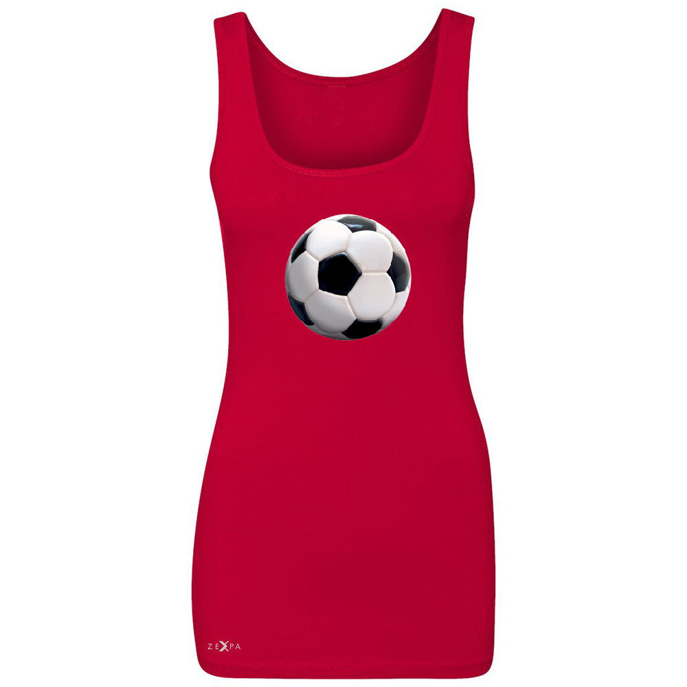 Real 3D Soccer Ball Women's Tank Top Soccer Cool Embossed Sleeveless - Zexpa Apparel - 3