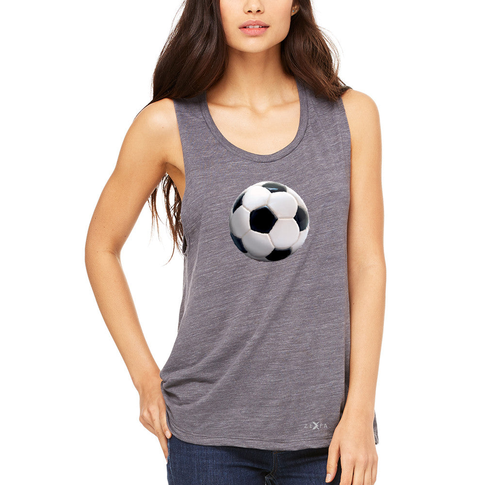 Real 3D Soccer Ball Women's Muscle Tee Soccer Cool Embossed Tanks - Zexpa Apparel - 2