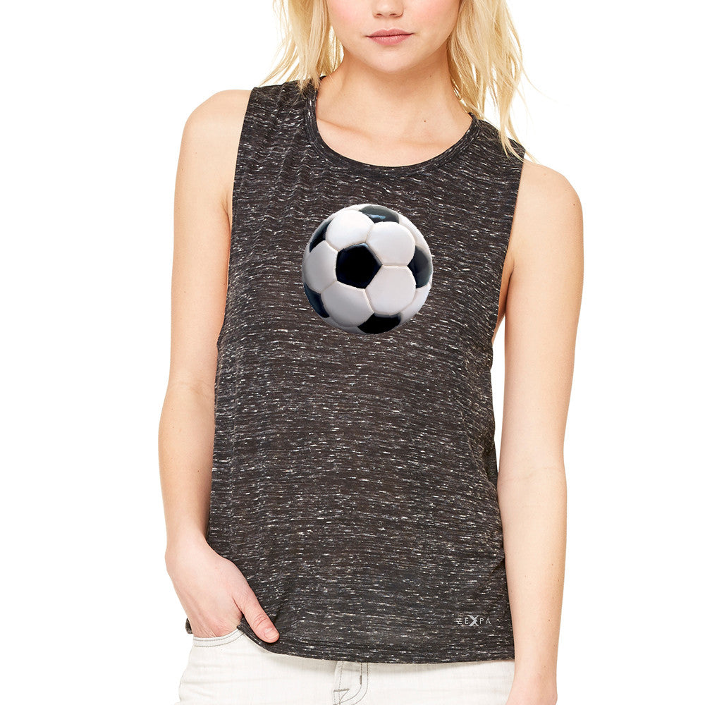 Real 3D Soccer Ball Women's Muscle Tee Soccer Cool Embossed Tanks - Zexpa Apparel - 3